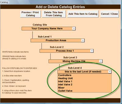 Facility Equipment Catalog Work Tickets and Parts Inventory